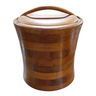 Mid Century Modern Teak Ice Bucket For Sale