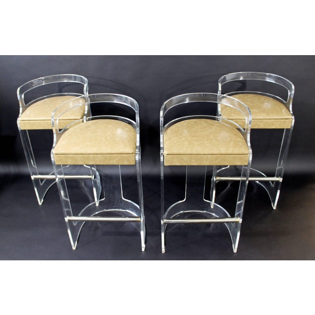Mid-Century Modern Hill Lucite Chrome Beige Leather Bar Stools - Set of 4 For Sale - Image 9 of 9