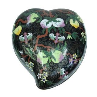 Chinese Black Metal Enamel Cloisonne Heart Peach Shape Box For Sale
