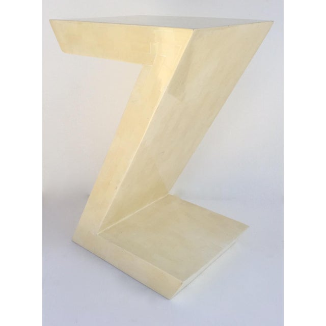 """Karl Springer Attr. Inlaid Bone Tessellated """"Zig-Zag"""" Side/End Table For Sale In West Palm - Image 6 of 13"""