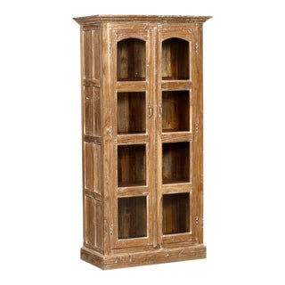 Boho Chic Tall Whitewashed Teakwood Armoire For Sale