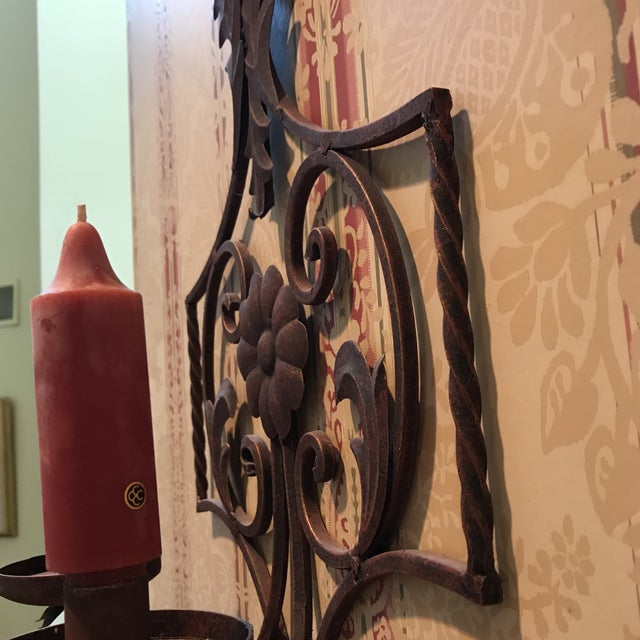 Bronze 20th Century Art Nouveau Bronze Scrolled Wall Candleholder For Sale - Image 7 of 9