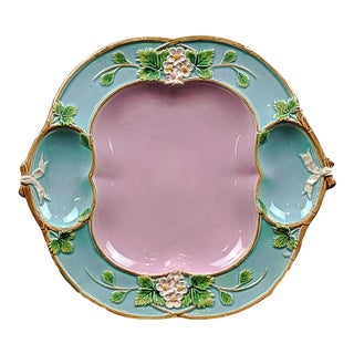 1873 George Jones Majolica 'Strawberry Tray' with Cream & Sugar Wells, English For Sale