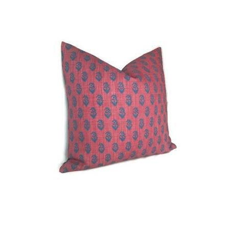Boho Chic Red & Blue Rajmata Pillow Cover For Sale - Image 3 of 4