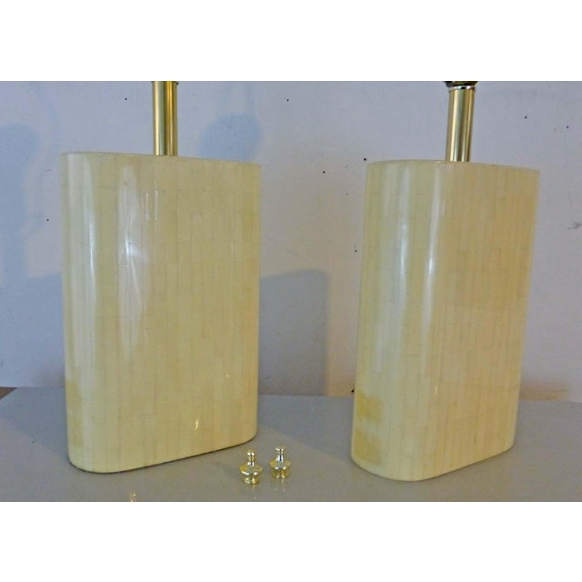 Karl Springer Tessellated Bone Lamps With Original Rope Shades - A Pair For Sale - Image 11 of 11