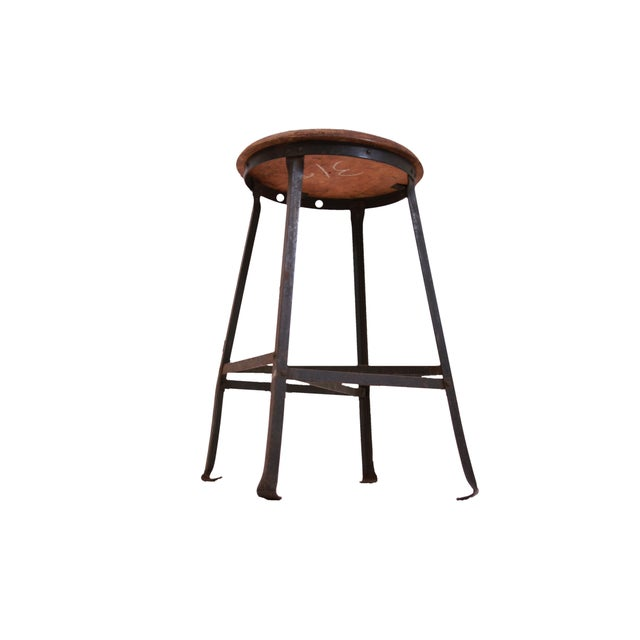 1940s Industrial Stool with Oak Seat - Image 3 of 3