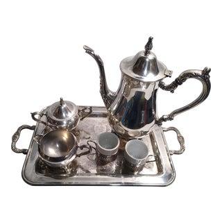 Oneida Silverplate Coffee Set on Leonard Silverplate Tray - 6 Piece Set For Sale