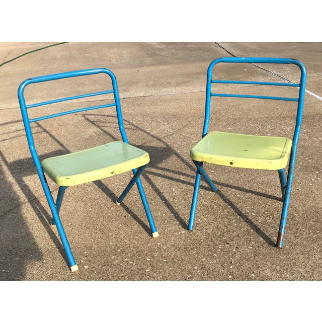 Vintage Children's Metal Folding Chairs - a Pair For Sale - Image 10 of 11