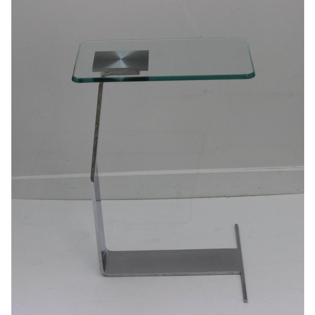 side table satin steel polished steel glass in style of DIA (Design Institute of America) from a Palm Beach estate