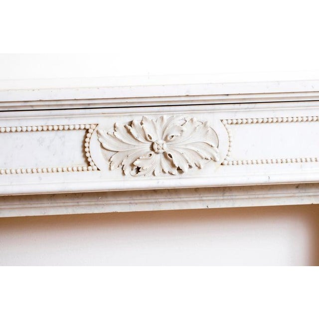 19th Century Louis XVI Style Carrara Marble Fireplace Surround / Mantel For Sale - Image 4 of 13