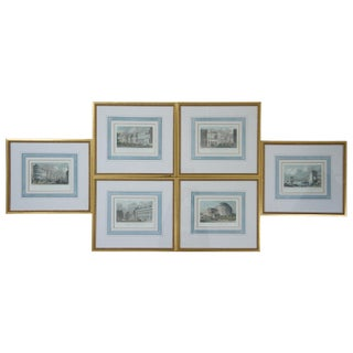 Early 19th Century Colored Engravings of London England Cityscapes Framed - Set of 6 For Sale