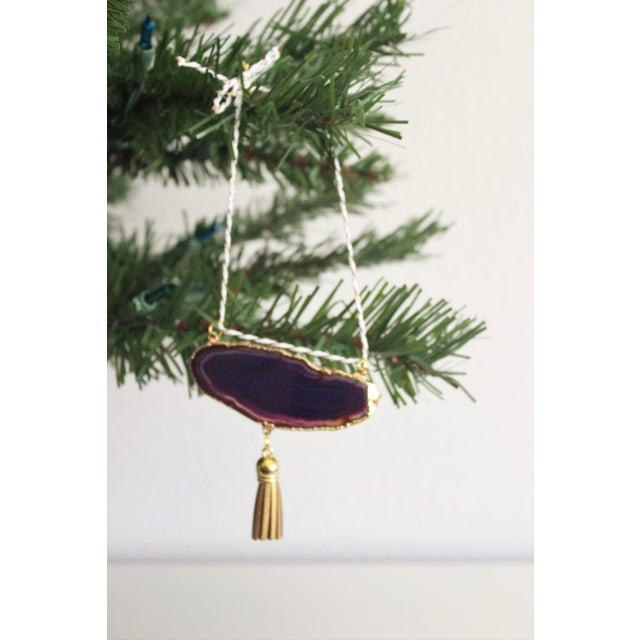 Modern Boho Purple/Eggplant Agate Holiday Ornament - Image 5 of 6