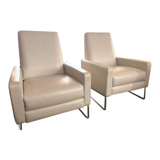 Design Within Reach Leather Flight Recliners - A Pair For Sale