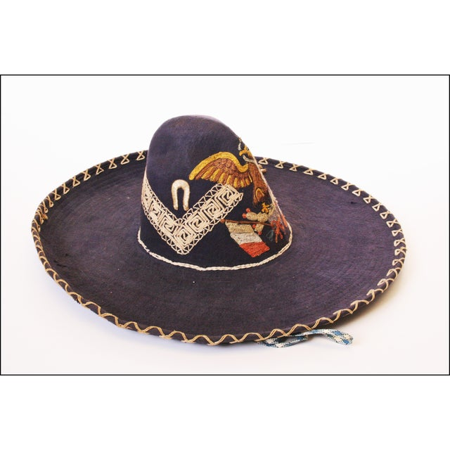 Early Mexican Navy Blue Embroidered Sombrero - Image 6 of 11