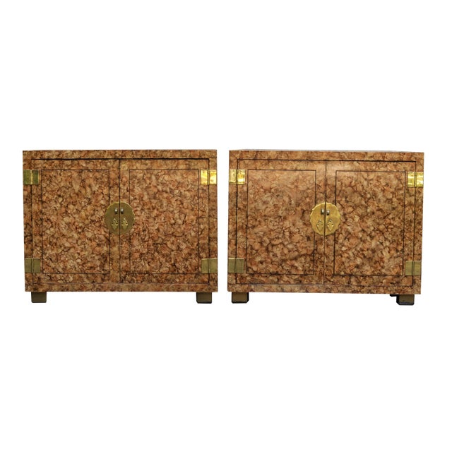 Henredon Faux Tortoise Shell Cabinets - a Pair For Sale