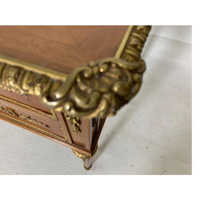 French Style Mahogany and Satinwood Writing Desk With Ormolu For Sale In Philadelphia - Image 6 of 13