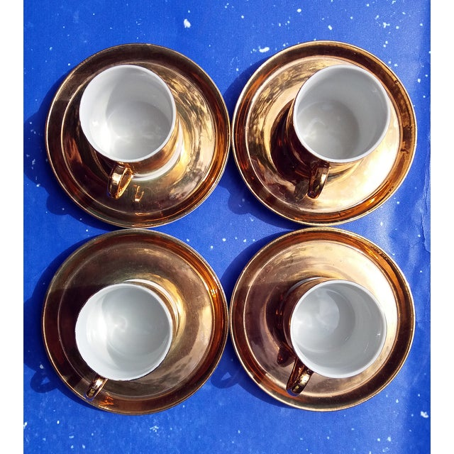 Gold Coffee Cups With Saucers - Set of 4 - Image 4 of 5