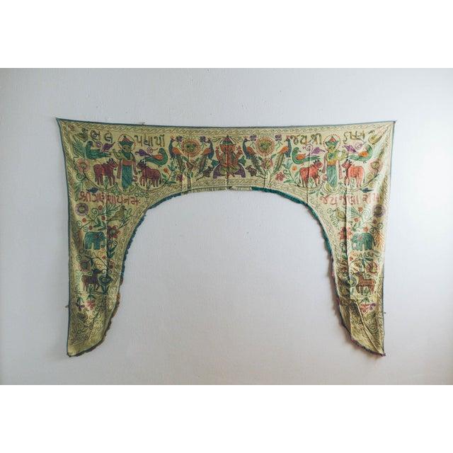 Vintage Green Handmade Indian Toran Door Valance For Sale - Image 10 of 10