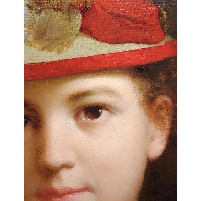 Stephen William Shaw -19th C. Portrait of a Fashionable Young Girl W/A Feather Hat-Oil Painting For Sale In Los Angeles - Image 6 of 11