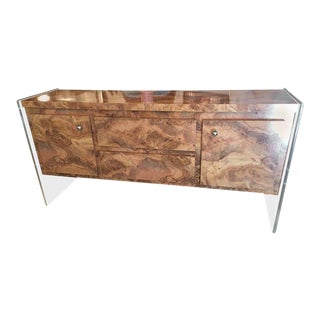 Vintage Faux Burl and Lucite Credenza For Sale