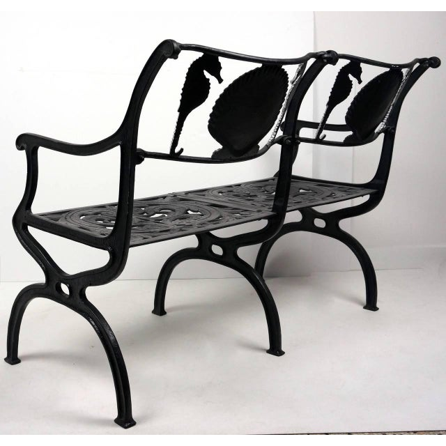 Molla Cast Aluminium Seahorse and Shell Motif Garden Settee by Molla, 1950s For Sale - Image 4 of 11