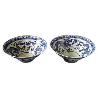 Blue & White Shaped Dragon Bowls - a Pair For Sale