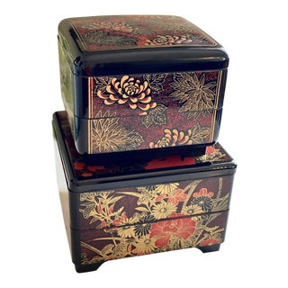 Vintage Red and Orange Chinoiserie Boxes - a Pair For Sale