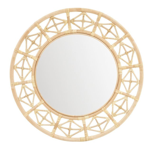 Round Diamond Pattern Mirror. Color - Natural.