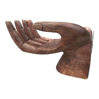 Primitive Bohemian Carved Wooden Human Hand Sculptural Shelf For Sale