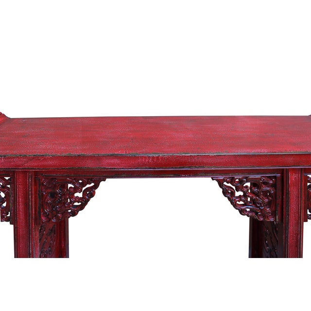 Chinese Distressed Red Lacquer Dragon Motif Apron Altar Console Table For Sale In San Francisco - Image 6 of 7