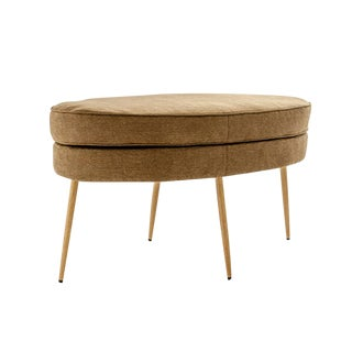 Oval Upholstered Mushroom Color Ottomon Bench For Sale