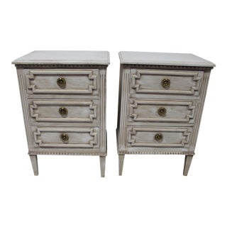 20th Century Swedish Gustavian 3-Drawer Nightstands - a Pair