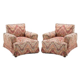 James Mont Bargello Upholstered Club Chairs