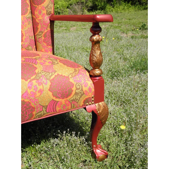 Fabric 1910s Antique Chippendale Period Ball and Claw Upholstered Wingback Chair For Sale - Image 7 of 8