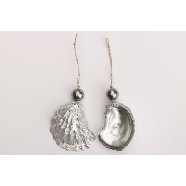 Americana Silver and Pearl Oyster Shell Christmas Ornaments, Set of 6 For Sale - Image 3 of 6