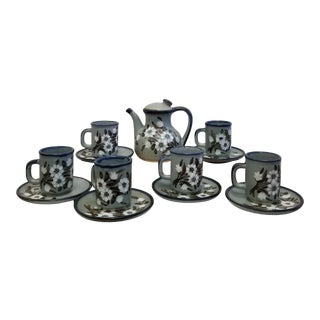 Vintage 1970's Mexican Stoneware Floral Coffee Service Set - 13 Pieces For Sale
