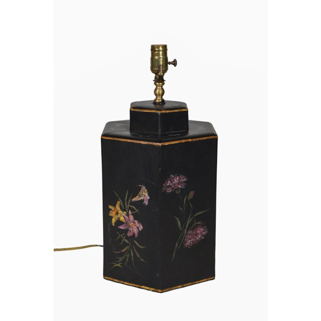 Metal Vintage English Export Floral Style Tea Caddy Lamp For Sale - Image 7 of 8