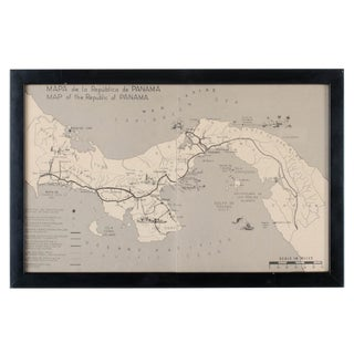 Vintage Republic of Panama Framed Map For Sale
