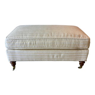 Edward Ferrell Upholstered Ottoman Bench-Brass Casters For Sale