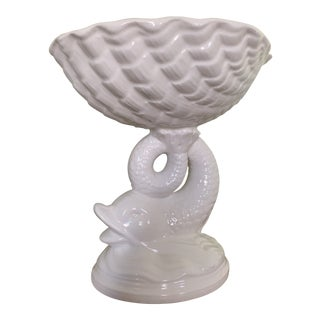 White Hollywood Regency Koi Fish Shell Dish For Sale