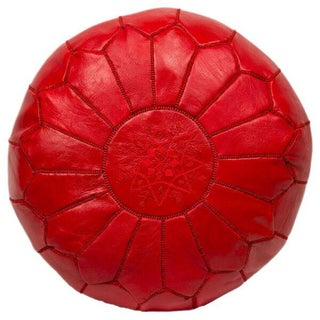 Red Embroidered Leather Pouf