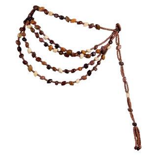 Vintage Marry McFadden Five Strand Wood Bead Tassel Belt With Box For Sale