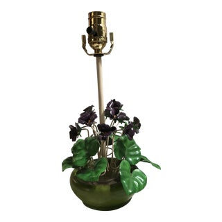 Vintage Tole African Violet Table Lamp