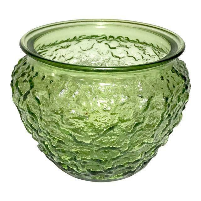 Mid-Century Modern Mid-Century Modern Green Glass Vase For Sale - Image 3 of 4