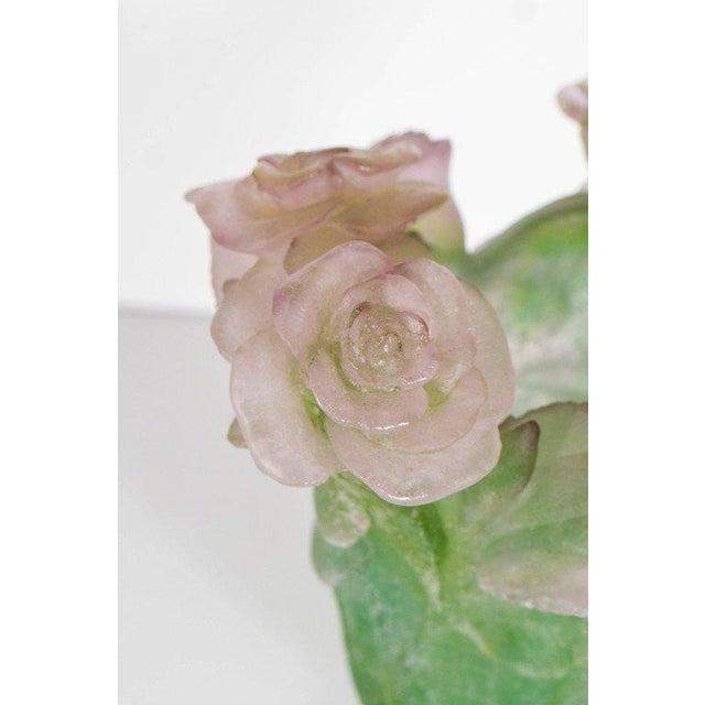 1980s Exquisite Pate Verre Roses Vase by Daum For Sale - Image 5 of 9