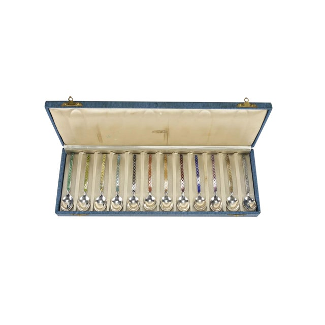 Holland Sterling Silver & Enamel Demitasse Spoons in Box - Set of 12 For Sale