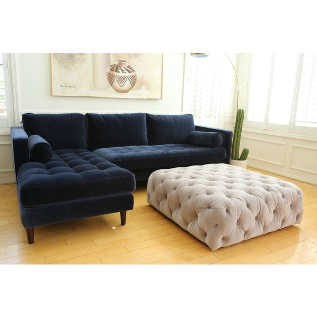 Velvet tufted Ottoman Coffee Table For Sale - Image 5 of 6