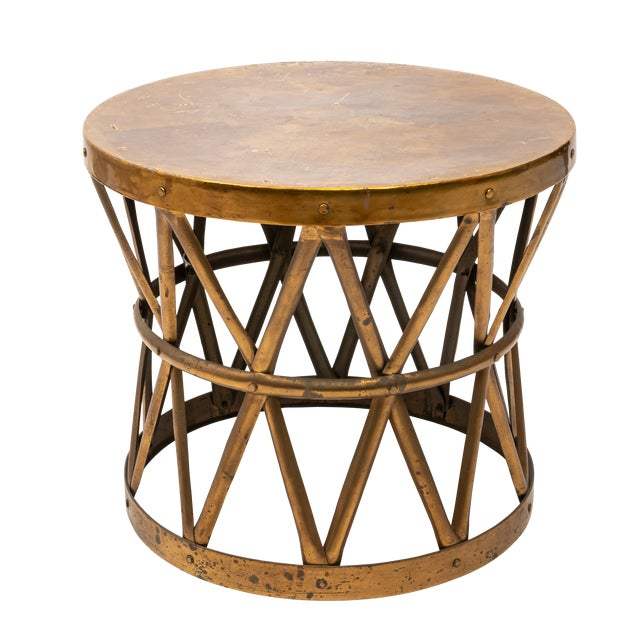 Metal Hollywood Regency Brass Drum Table For Sale - Image 7 of 7