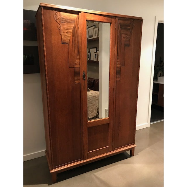 English Oak Wardrobe With Walnut Accents & Mirror - Image 11 of 11