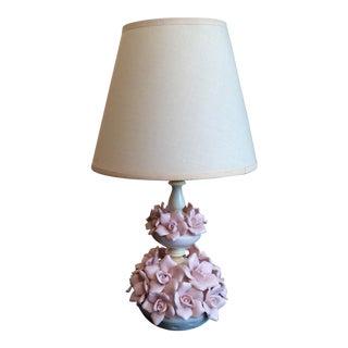 Mid-Century Porcelain Flower Lamp